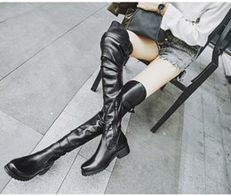 2018 Free women winter Wholesale-New style fashion Womens Canvas Lace Up Knee High Boots Sneakers Flat Casual Tall Punk Shoes free shipping