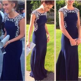 Dark Navy Blue Sheath Long Chiffon Evening Dresses Elegant Beading Scoop Neck Sleeveless Woman Prom Party Gown