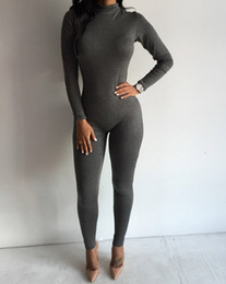 Sexy Black Rompers and Jumpsuits 2016 Hot Women Long Sleeve Bodycon Jumpsuit Sexy Gray Back Zipper Night Club Party Overalls