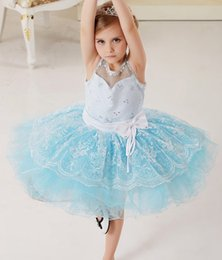 Exquisite lace flower ballet dance dress seven layers softer lighter girls' dresses two colors pink blue