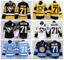 Pittsburgh Penguins 71 Evgeni Malkin Hockey Jerseys Winter Classic Malkin Penguins Jersey Retro Black Blue White Yellow