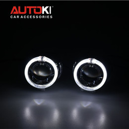 Wholesale 2 inches Bi xenon Projector Lens Projector Shroud Super Bright LED Light Guide Angel Eyes Ballast Lamps Wire Harness