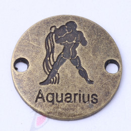 AQUARIUS hand flake round charms antique silver bronze DIY jewelry fit Necklace or Bracelets 100pcs lot 3113z