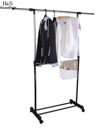 Wholesale Adjustable Clothes Hanger Tidy Rolling Garment Rack Heavy Duty Rail With Shoe Shelf Portable
