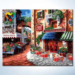Wholesale Morning Town Wall Art DIY Painting Baby Toys x50cm Coloring Canvas Oil Painting Drawing Wall Art for Home Decoration with Green Acrylic
