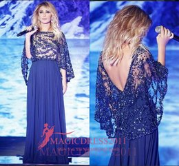 2019 Sparkly Blue Evening Formal Dresses with Cowl Back A-Line Jewel Illusion Bodice Party Formal Gowns Celebrity Arabic