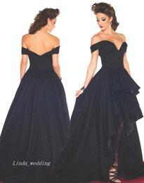 Free Shippin sexy impresionante negro fuera de la alfombra roja hombro alto Bajo Long Prom Dress Party Gown desde alfombra roja del hombro fuera fabricantes