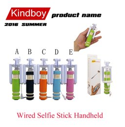 Super Mini Wired Selfie Stick Handheld Portable Light Foam Monopod Fold Self-portrait Stick Holder with Cable for phone iphone 6 free DHL