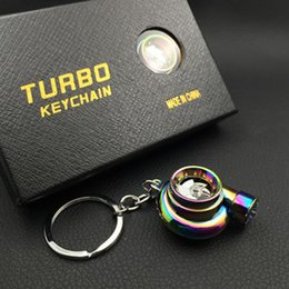 Wholesale 13colors JDM Auto Part Turbocharge Accelerator Turbo Sound LED REALLY SPINS WITH LED AND SOUNDS Keychains keyring