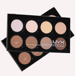 NYX Highlight & Contour 8 colors Cream Makeup Face Contour Kit Highlight Concealer Palette Bronzer with Blender Beauty Cosmetic Set