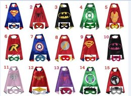 Wholesale Double side L70 cm kids Superhero Capes and masks Batman Spiderman Flash Supergirl Batgirl Robin for kids capes with mask design