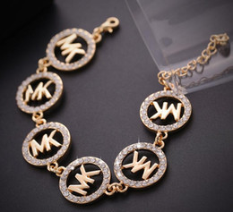 Wholesale MK Michael Kores style Tone letters bracelet Crystal Round charms bracelets Gold Plated fashion wedding Jewellery brand jewelry for women