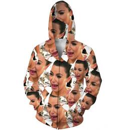 Wholesale Crying Kim Zip Up Hoodie Kim Kardashian d Sweatshirts Women Men fashion Tops Outfits Jumper Coats Sweats