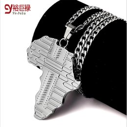 2016 new High Quality Africa map pendant necklace Fashion accessories Hip Hop for men silver Long alloy Chain men jewelry bijouterie