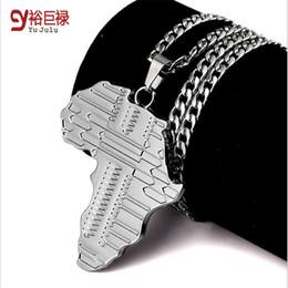 2016 nouveau Haute qualité Afrique carte pendentif accessoires Collier de mode Hip Hop pour les hommes en argent Long alliage Chaîne bijouterie bijoux hommes à partir de cartes haute fabricateur