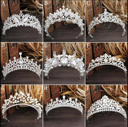 Wholesale Gorgeous Sparkling Silver Big Wedding Diamante Pageant Tiaras Hairband Crystal Bridal Crowns For Brides Hair Jewelry Headpiece