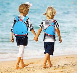 Wholesale Kid Backpack Children Cute One Shoulder Cross Body Cartoon Bag For Little Boy Girl Christmas Birthday Gift Blue Crazy Shark School Lunch Bag