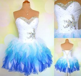 In Stock Short Homecoming Dresses 2016 Sweetheart Pleats Ruffles Organza Beaded Mini White   Blue Under 100 Cocktail Graduation Party Dress