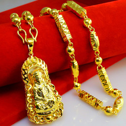 Vietnam Jinsha gold necklace men thick heavy domineering imitation 999 Gold Pendant nouveau riche Avalokiteshvara