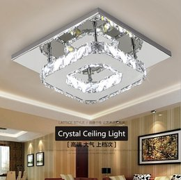 Wholesale Modern LED Crystal Ceiling Light W Fixture Square Surface Mounted Crystal Lamp for Hallway Corridor Asile Light Chandeliers Ceiling Light