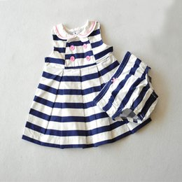 0-9M) Baby Girls Dress with knicker, navy blue striped dress Double-breasted baby girls dresses peter pan collar baby clothing sets