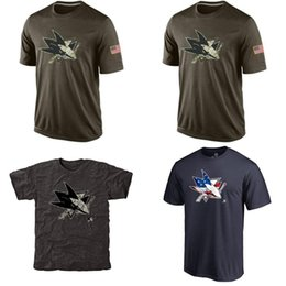 Wholesale NHL San Jose Sharks T Shirts cheap Hockey jerseys Tshirts Salute To Service Black Rink Warrior Tri Blend
