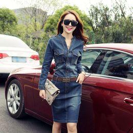 Wholesale In the spring of new long sleeved denim dress slim slim package hip skirt in the Korean version of the OL gas V