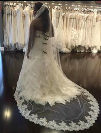 Ivory Best Selling Luxury Real Image Wedding Veils Long Veils Lace Applique Cathedral Length Cheap Bridal Veil
