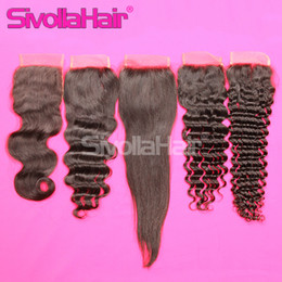 Wholesale Top Lace Closure Brazilian Human Hair Full Lace Closures Body Deep Loose Straight Curly with Original Natural Human Hair