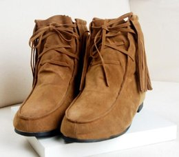 Wholesale Flat Boots Tassels Luxury Shoes Ankle Boots Pretty Women Classic Soft Shoes American Popularity with Short Boots Comfortable