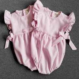 Baby Romper Pattern ,Striped Pink Baby Girls Bubble Romper ,Ruffle Sleeve Baby Shower Gift ,Summer Beach Baby Sunsuit