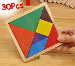 Wholesale 30pc lot Wooden Tangram 7 Jigsaw Puzzle I.Q. Game Brain Teaser Intelligent Toy Educational Baby Toys Christmas Gift