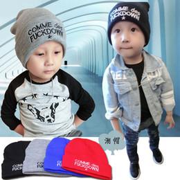 caps Korean children head cap Autumn Korean children warm knit cuffs embroidered letters wool hat baby beanies headwear caps
