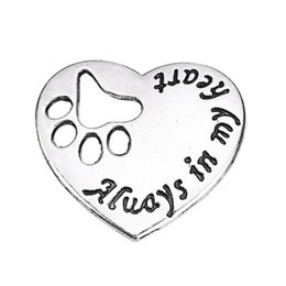 Wholesale Dog Paw Cat Paw Print Hearts Always In My Heart Charm Love Pendant Antique Silver Plated a DIY jewelry