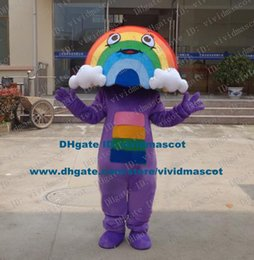 Wholesale Delighted Colorful Rainbow Cloud Stratus Nuages Mascot Costume Cartoon Character Mascotte Adult Purple Body NO Free Ship