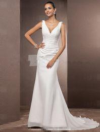 Trumpet Mermaid Petite   Plus Sizes Wedding Dress - Ivory Court Train V-neck Chiffon