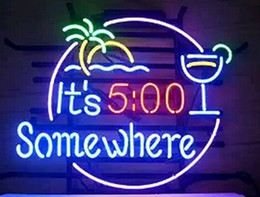 Neon Light Sign. LED sign It is 5:00 some where HelmetLIGHT Neon Beer Sign Bar Sign Real Glass Neon Light Beer Sign43cm*35cm