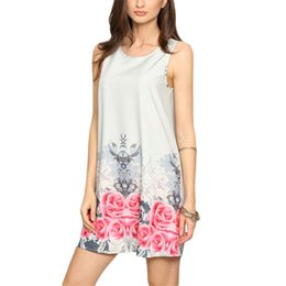Women Vintage Summer floral print sleeveless sheath dresses Cute women multicolor round neckline mini dress