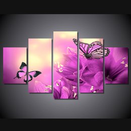 5 Panel HD Printed butterfly on pink flower Painting Canvas Print room decor print poster picture canvas wall flowers pink