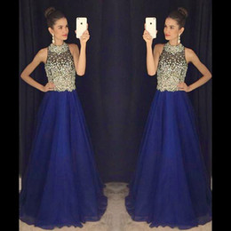 Royal Blue Heavy Beaded Prom Dresses 2019 Halter Sexy Backless Long Prom Gowns A Line Floor Length Tulle Evening Party Gowns