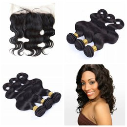 Hair Weave 4pcs lot 3 Human Hair Weaves Bundles and 1 Closure Lace Frontal Body Wave Malaysian human Hair G-EASY