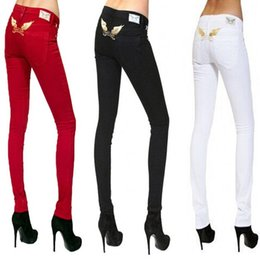 Wholesale 2016 womens luxury fashion all white red black skinny jeans brand design pocket jean hip hop pants man high quality trousers men clothes
