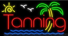 Sun Tanning Neon Sign Custom Sandy Beach Publicité Sign Display Sign Real Glass Tube LED Signature 37