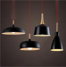 Wholesale 2016 new Modern Pendant Light Nordic Style Suspension Luminaire Hanging Lamp Vintage Pendant Lamp Rustic Wood Light Aluminium Lampshade