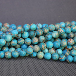 Jasper Natural Stone Aqua Blue Gemstone Emperor Imperial Jasper Beads Round Smooth Beads Wholesale Price Women Necklace Making Jewelry