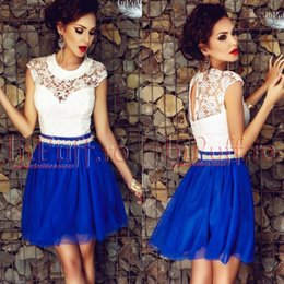Скидка синяя панель 2016 New Little White Royal Blue Paneled Home Coming Dresses A Line Jewel Neck Appliqued Backless Mini Cocktail Dresses Выпускные платья