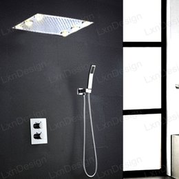 Wholesale 360 mm Chrome LED Rain Shower Head Multi Colors Remote Control Temperature thermostatic Bathroom Shower Stainless Steel bathroom set