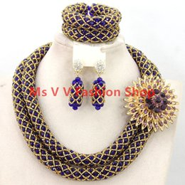 2 rows 2018 Luxury Golden Royal Blue Wedding African Beads Jewelry Set Dubai 18k Gold Jewelry Set Bridal wedding necklace set blue