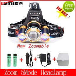 Wholesale Zoomable Led Headlight XM L T6 Lm Rechargeable Headlamp Flashlight Head Torch Linterna Battery DC Charge for Night Fishing