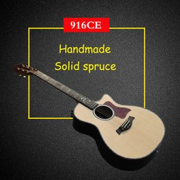 Wholesale 916CE Acoustic electric guitar Solid Spruce top Pearl inlay Ebony fingerboard B band pickup acoustic guitar in stock guitars